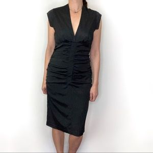 Bodycon black ruched gathered dress with stretch
